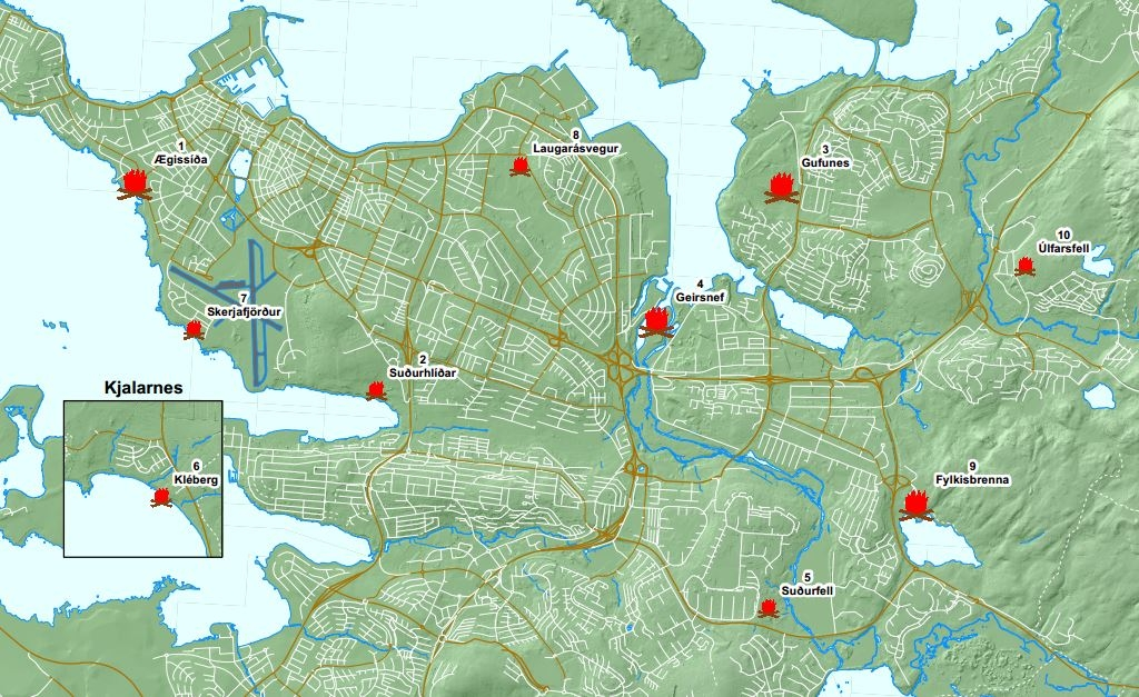 An image of a map of Bonfire locations in Reykjavík